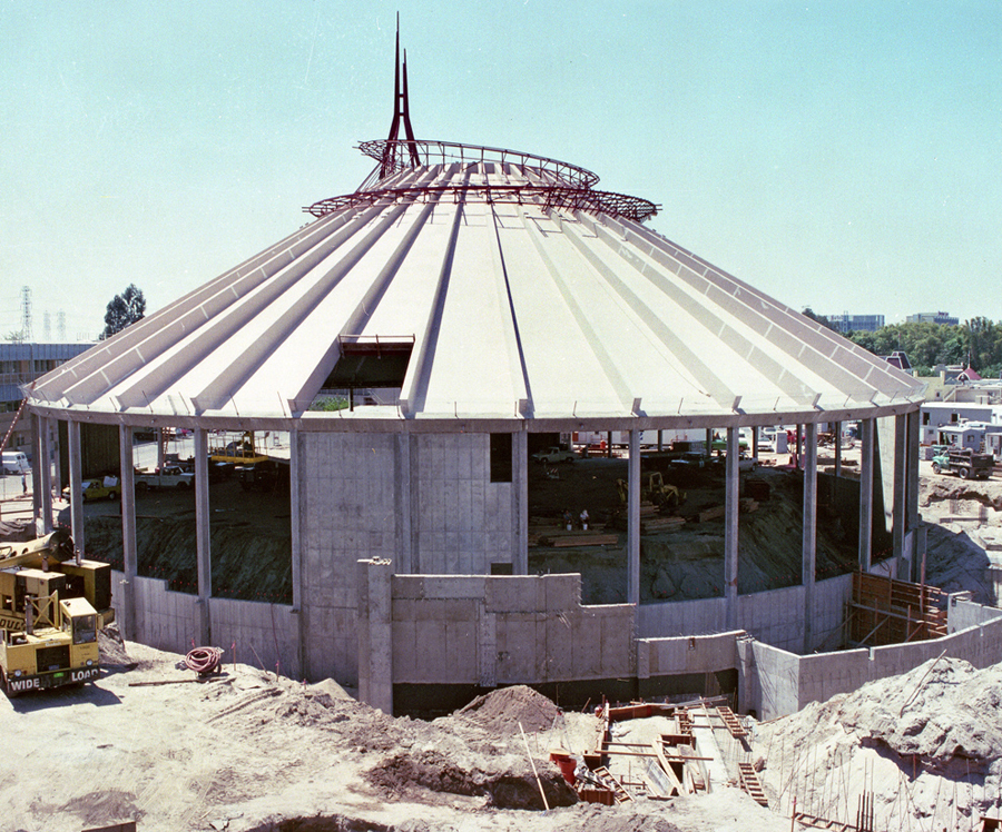 Construction on Space Mountain at Disneyland Park in 1976