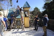 The Crew of 'My Yard Goes Disney' Constructs a Miniature Village in the Morales Family's Backyard