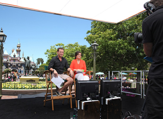 Karl Stefanovic and Lisa Wilkinson, Co-Hosts of Australia's 'Today' Show on the Nine Network, Anchoring the Show in Front of Sleeping Beauty Castle at Disneyland Park