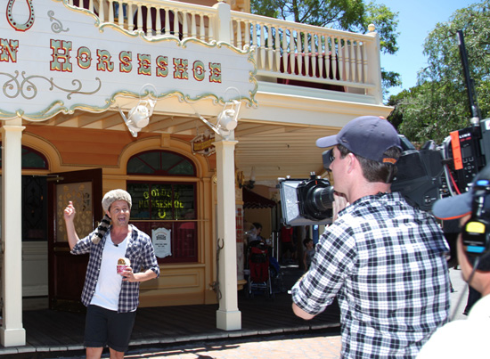 Steven Jacobs, Weather Presenter of Australia's 'Today' Show on the Nine Network, in Front of the Golden Horseshoe at Disneyland Park