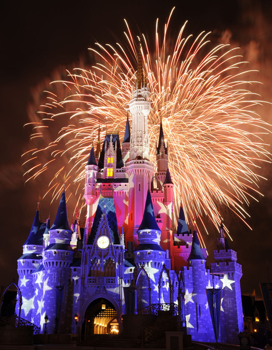 Celebrating the Fourth of July with Fireworks over Cinderella Castle in Magic Kingdom Park