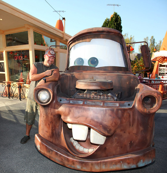 Larry the Cable Guy and Mater at Cars Land in Disney California Adventure Park