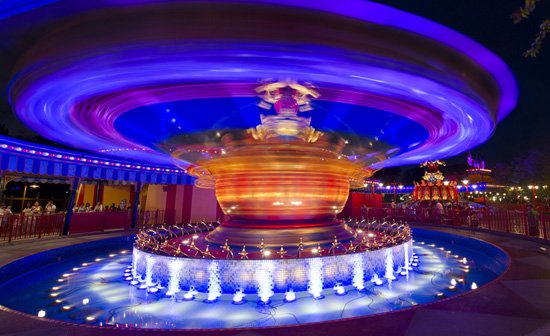 The New, 'Doubled' Dumbo the Flying Elephant after Dark in New Fantasyland at Magic Kingdom Park