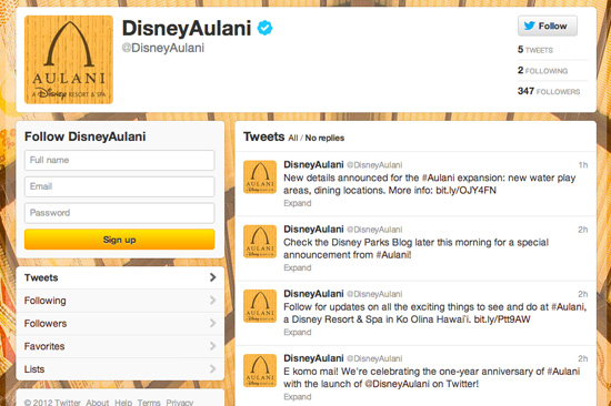 Aulani, a Disney Resort & Spa Twitter Page