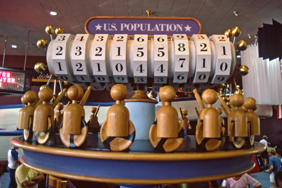 The U.S. Population Counter in CommuniCore at Epcot in the 1980s