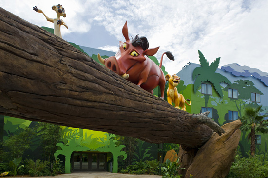 Pumbaa and Timon Dance with Young Simba in the Lion King Courtyard at Disney's Art of Animation Resort