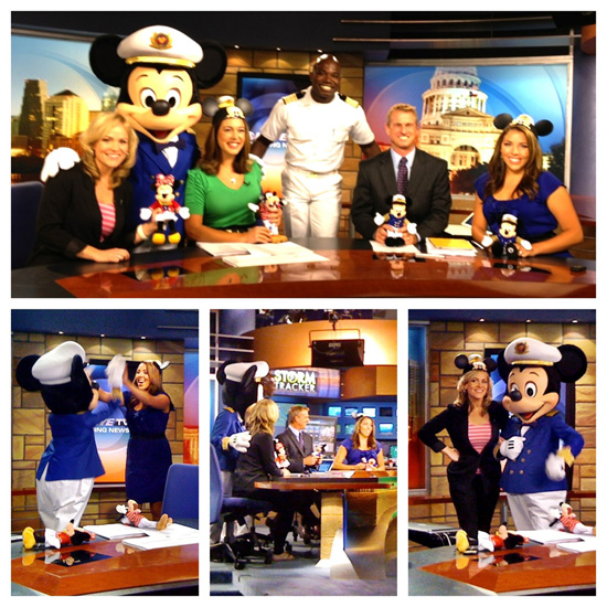 Captain Mickey and Disney Magic Cruise Director Clayton Receive a Texas-sized Welcome in Austin, Texas, from KEYE-TV's Erica Harpold, Mileka Lincoln, Hunter Ellis and Allison Miller