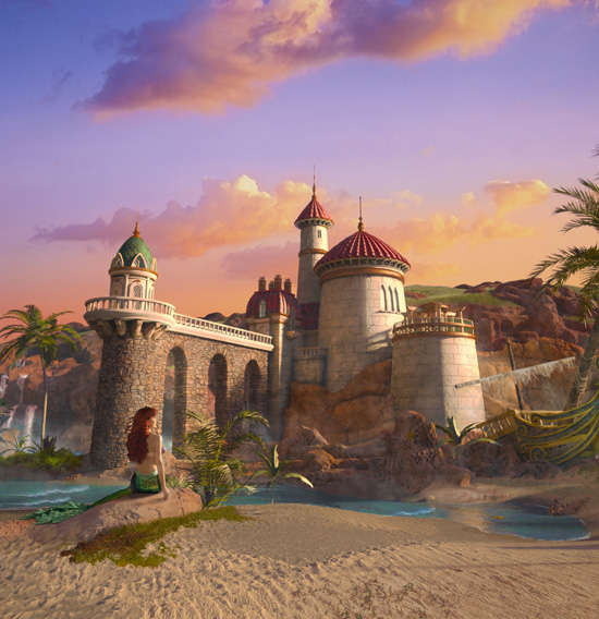 Ariel Gazes at Prince Eric's Castle as the Tide Rushes In; See Her in New Fantasyland at Magic Kingdom Park