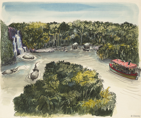 Artwork for the Jungle Cruise by Disney Legend Marc Davis