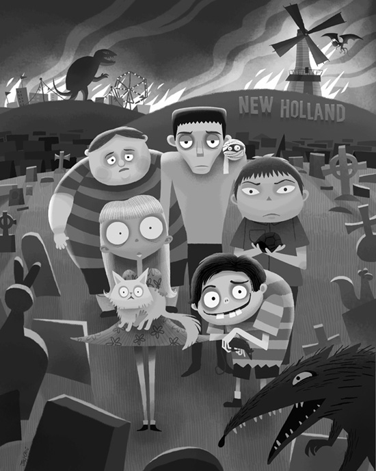 Frankenweenie inspired artwork by joey chou featuring a dark night in new holland