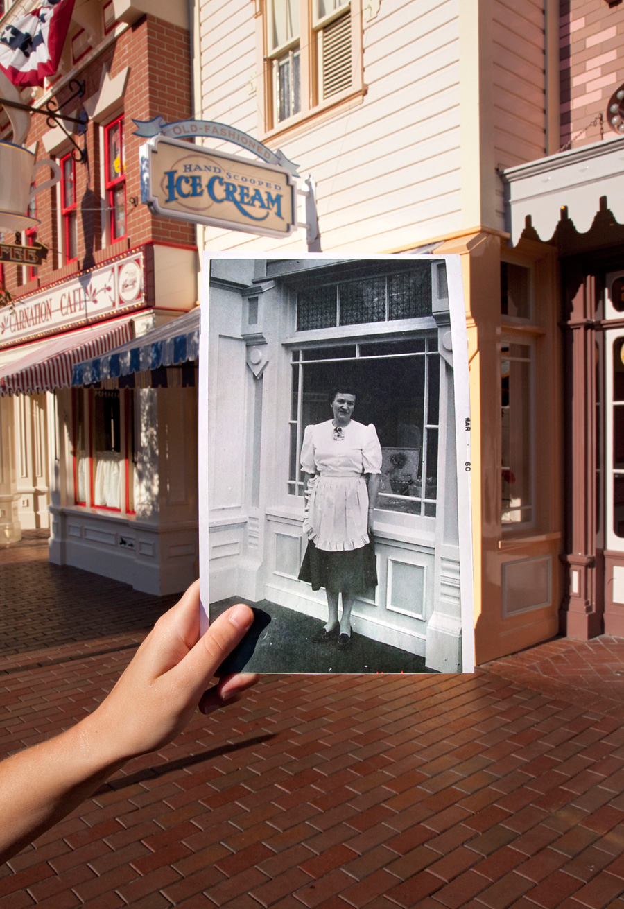 then and now gibson girl ice cream parlor at disneyland