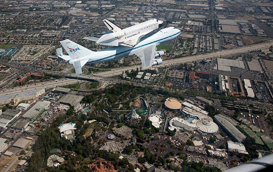 NASA Photo Shows Space Shuttle Endeavour Soaring Over the Disneyland Resort