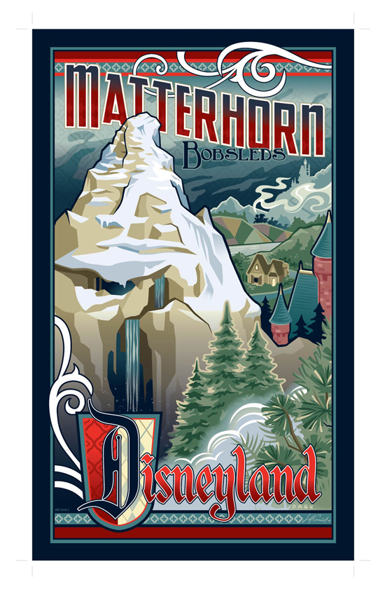 Disneyland Resort's Matterhorn Bobsleds Artwork by Jeff Granito