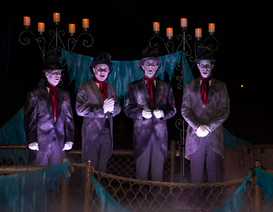 The Cadaver Dans Performing From Their Bewitched Barge Along the Rivers of America During Mickey's Halloween Party in Disneyland Park