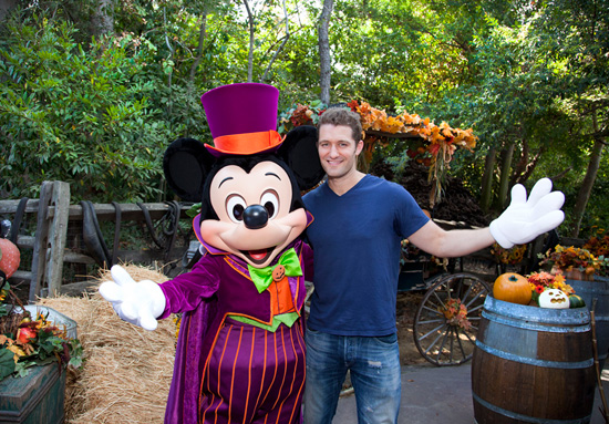 Matthew Morrison Celebrates His Birthday and Halloween with Mickey Mouse at Disneyland Park
