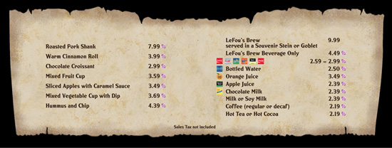 The Menu for Gaston's Tavern in New Fantasyland