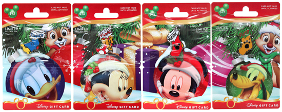 Holiday Disney Gift Cards Featuring Donald Duck, Minnie Mouse, Mickey Mouse, Pluto, and Chip and Dale