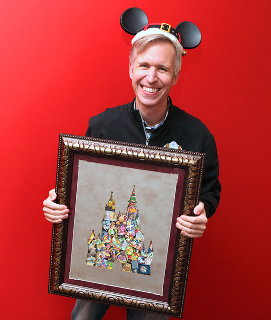Steven Shows Off the Deluxe Framed Castle Pin Set That Comes with the Disney Parks Shopping Card
