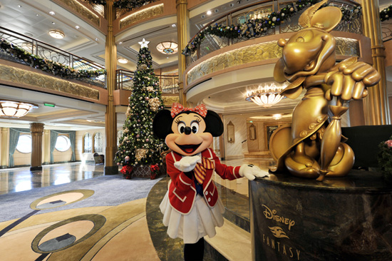 Minnie in Front of the 20-Foot Holiday Tree on the Disney Fantasy