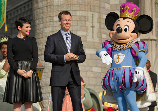 Tom Staggs With Ginnifer Goodwin and Mickey Mouse at the New Fantasyland Grand Opening Celebration at Walt Disney World Resort
