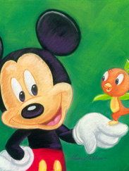 Disney Design Group Senior Character Artist Monty Maldovan Artwork Featuring Mickey and His Pal the Florida Orange Bird
