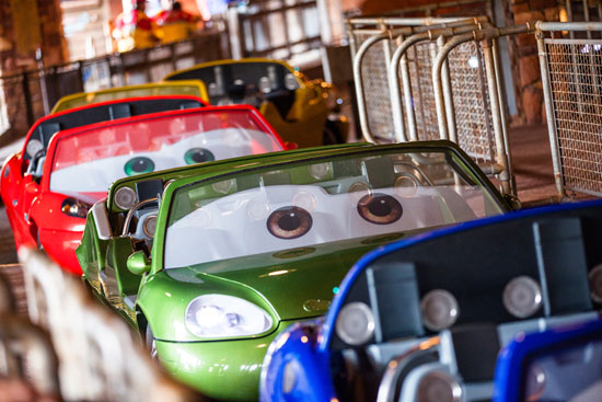 Cars at Radiator Springs Racers Line up to Take a Spin Through the Ornament Valley Range