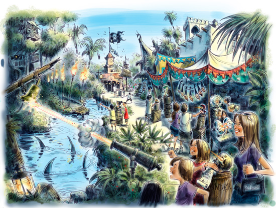 Artist Rendering of A Pirate's Adventure: Treasures of the Seven Seas by Walt Disney Imagineering