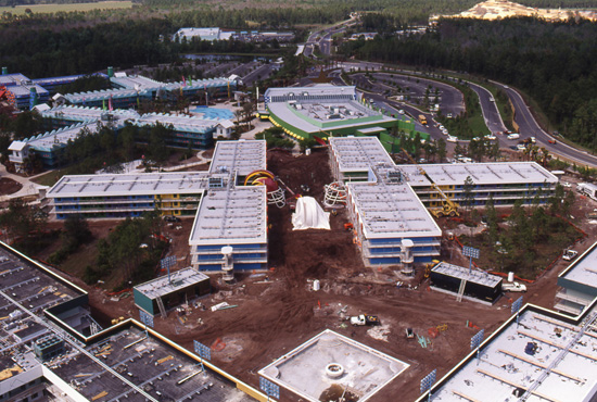 The Touchdown! Section of Disney's All-Star Sports Resort Under Construction in March 1994