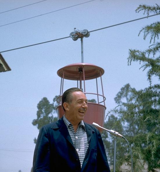 1956 Photo: Walt Disney at Opening of Skyway to Fantasyland at Disneyland Park