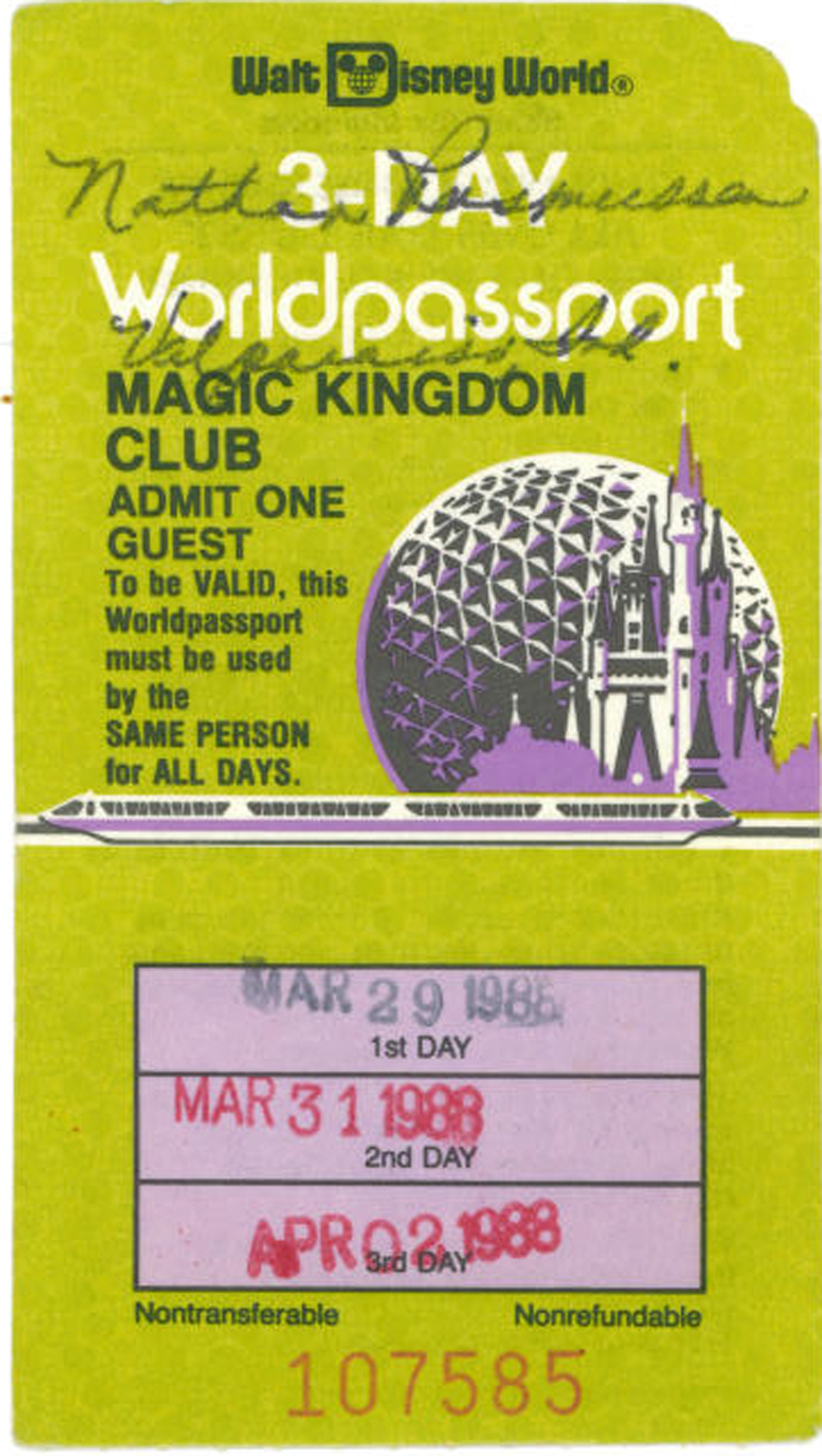 Vintage Walt Disney World Whats Your Ticket