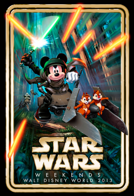 The 'Star Wars' Weekends Logo for 2013 Features Mickey in the Forest Moon of Endor with Chip and Dale