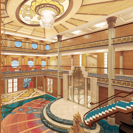 Redesigned Grand Atrium Lobby on the Disney Magic