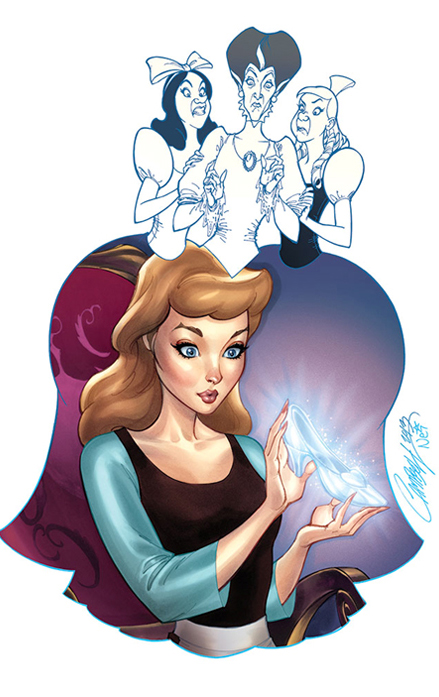 Her Slipper Featuring Cinderella, Lady Tremaine and Her Stepsisters by Artist J. Scott Campbell Will be Available Later This Month
