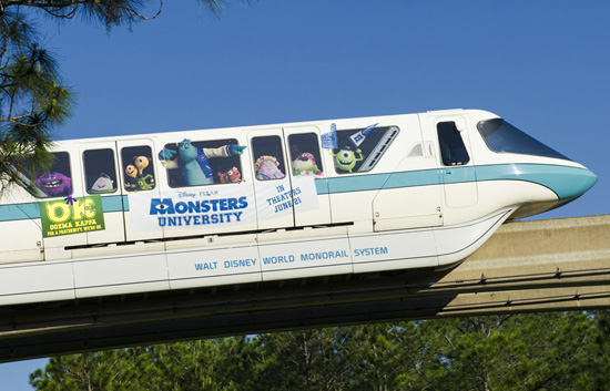 Monstrous 'Monsters University' Monorail Pulls Into Walt Disney World Resort
