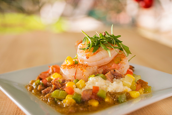 Shrimp & Grits at Florida Fresh Marketplace on the Mexico Side of World Showplace