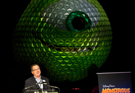 The Huge Sphere of Spaceship Earth was Transformed from Disney Parks Icon to Disney●Pixar 'Eye-con' for the Announcement