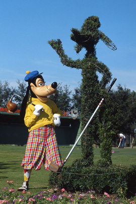 Goofy Admires His Topiary in 1985