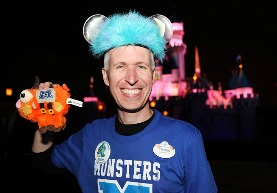Steven Miller and the Scare Pig in Front of Sleeping Beauty Castle