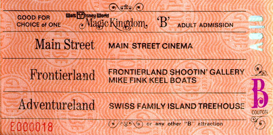 A Vintage B Ticket For Attractions At Magic Kingdom Park