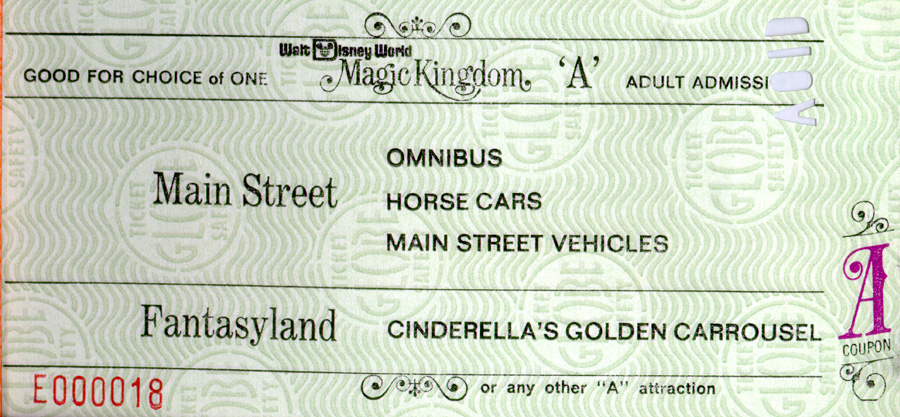 A Vintage Ticket For Attractions At Magic Kingdom Park