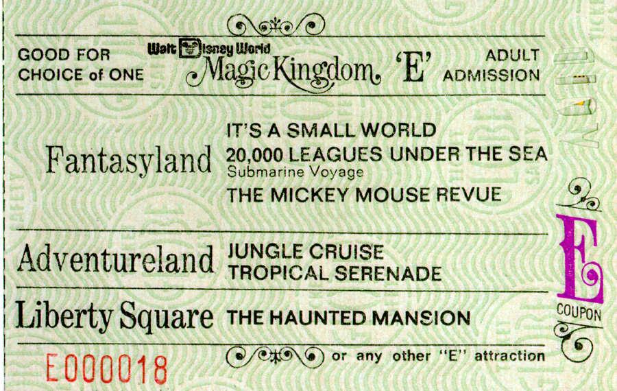 A Vintage E Ticket For Attractions At Magic Kingdom Park