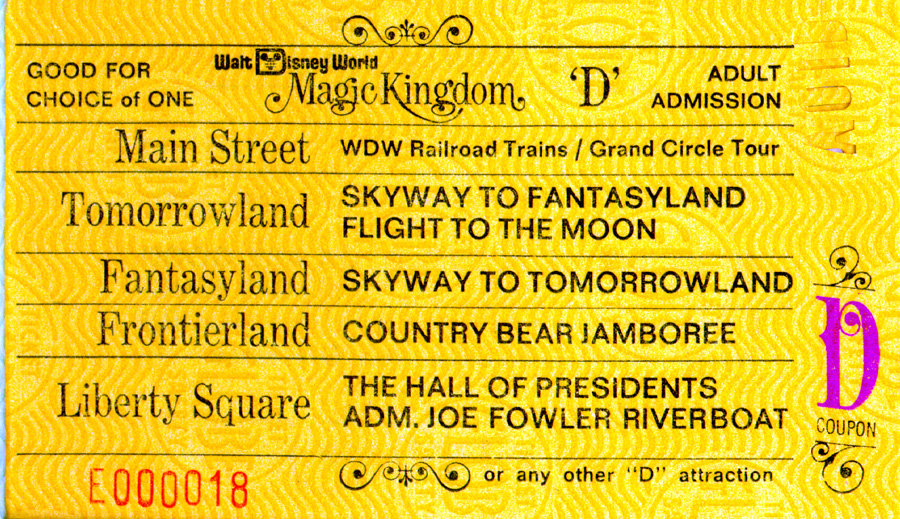 A Vintage D Ticket For Attractions At Magic Kingdom Park