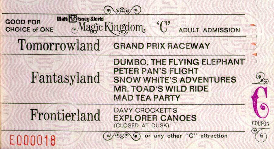 A Vintage C Ticket For Attractions At Magic Kingdom Park