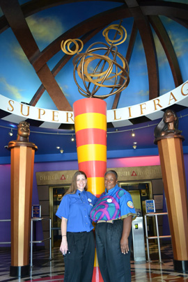 Cast Members Jessica and Jackie in the Lobby of DisneyQuest at Downtown Disney