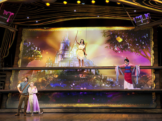 Pocahontas, Mulan, Rapunzel and Flynn Rider in 'Mickey and the Magical Map' at Disneyland Park