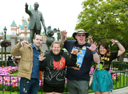 Jeff and Tonya, Who Have Visited the Disneyland Resort Every Day Since January 1, 2012, Join Their Friends (Along with Walt Disney and Mickey Mouse) in Front of Sleeping Beauty Castle.
