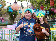 We Caught Marci and Jessica in Front of the Mad Tea Party, Sporting Commemorative T-shirts from Both One More Disney Day and the Monstrous Summer All-Nighter.
