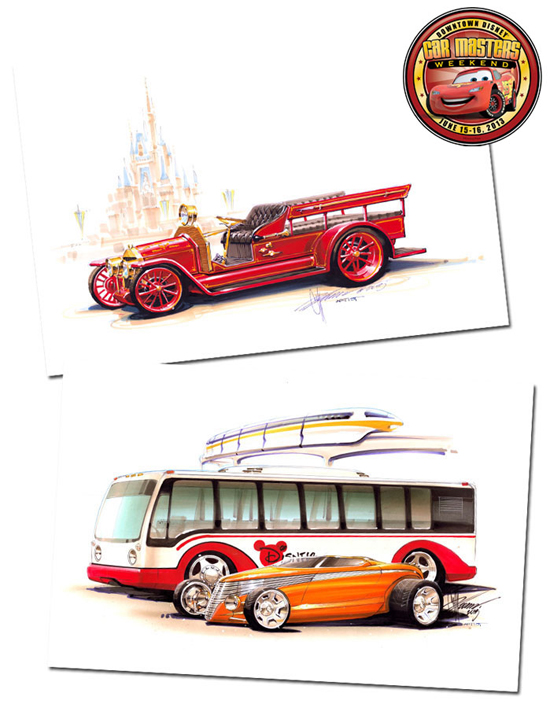 Chip Foose Returns to D-Street with New Artwork for Downtown Disney Car Masters Weekend on June 15-16, Including the Image of the Fire Engine in Front of Cinderella Castle
