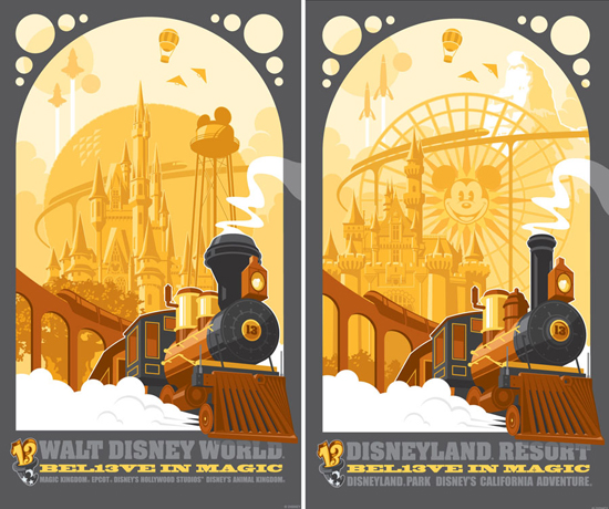 The 2013 Poster for August from Disney Design Group Features the Iconic Disney Railroad