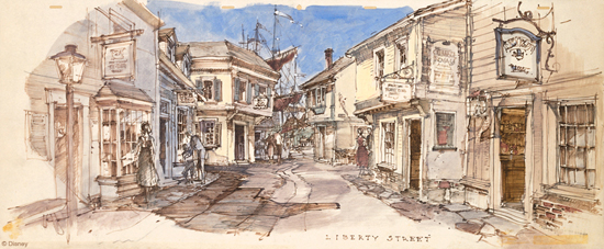 Rendering of Liberty Street at Disneyland Park, Courtesy of the Walt Disney Imagineering Art Library